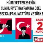 Hürriyet – Kalpaklı Atatürklü Bez Türk Bayrak